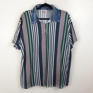Vintage Shirts - Vintage Unisex Striped Denim Collar XXL Green